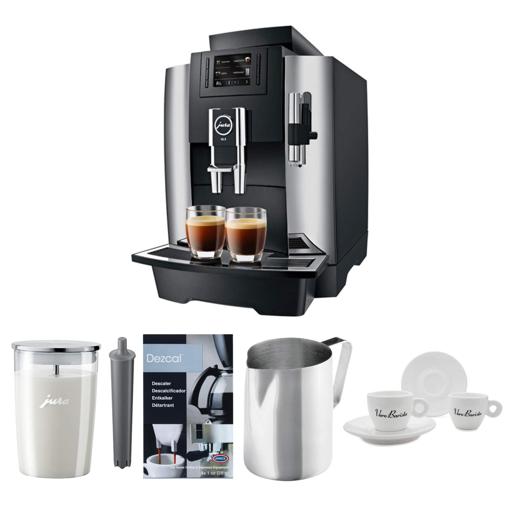 Jura 15145 Automatic Coffee Machine WE8, Chrome Includes Descaler, Smart Filter, Milk Container, Frother Pitcher and Espresso Cups Bundle (6 Items)