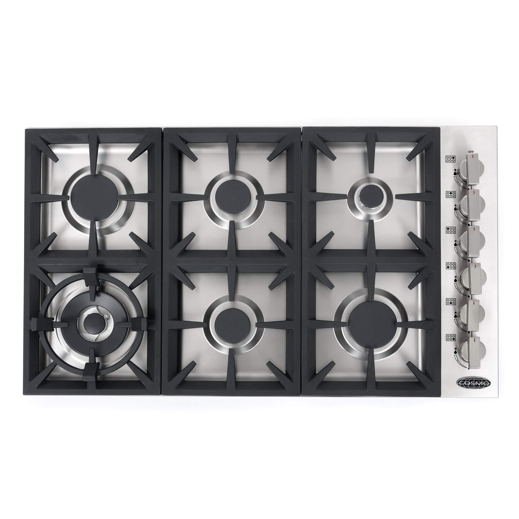 Cosmo 36 in. Gas Cooktop in Stainless Steel with 6 Italian Made Burners