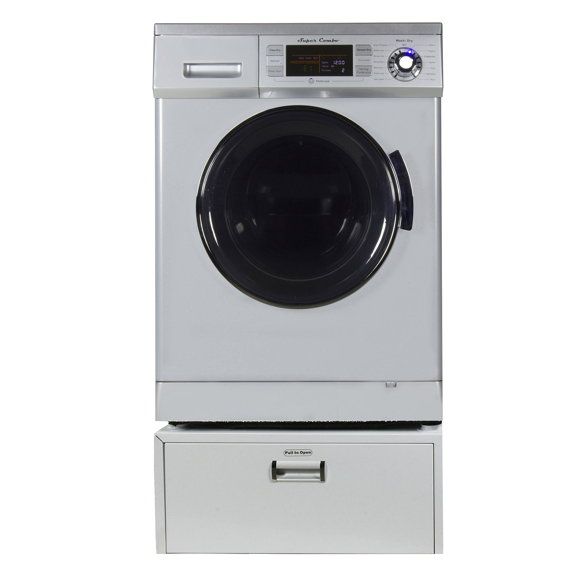 "Equator Super Combo Washer-Dryer EZ 4400 11"" High Pedestal with Storage drawer, in Silver"