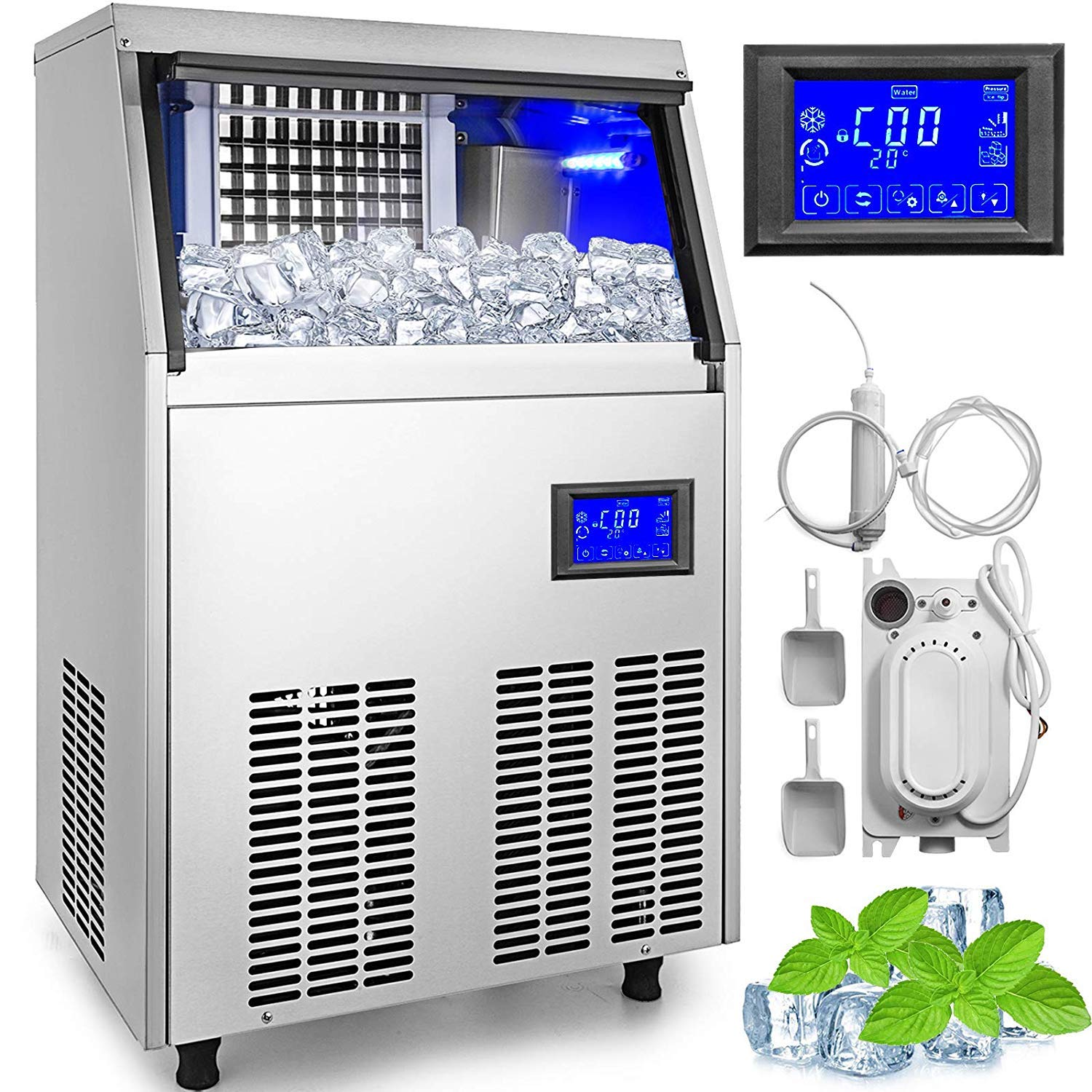 VEVOR Commercial Ice Maker 155LBS in 24Hs with Water Drain Pump 33LBS Storage Stainless Steel 5x9 Cubes LCD Panel Auto Clean for Bar Home Supermarkets, Sliver