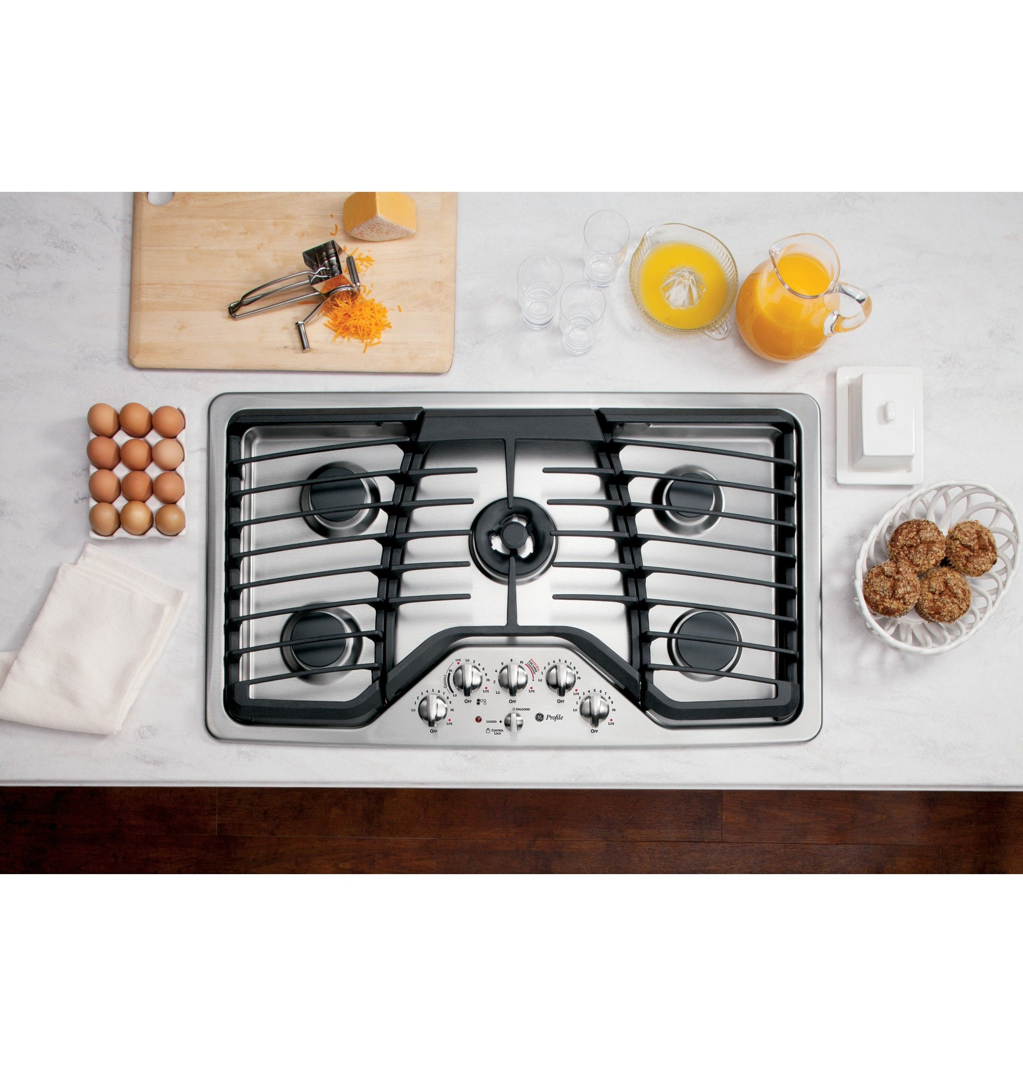 "GE Profile PGP986SETSS 36"" Gas Cooktop with 5 Sealed Burners"