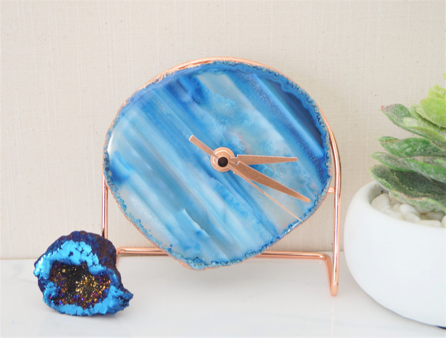 Wholesale Starter set 9 Blue Agate Desk Clocks