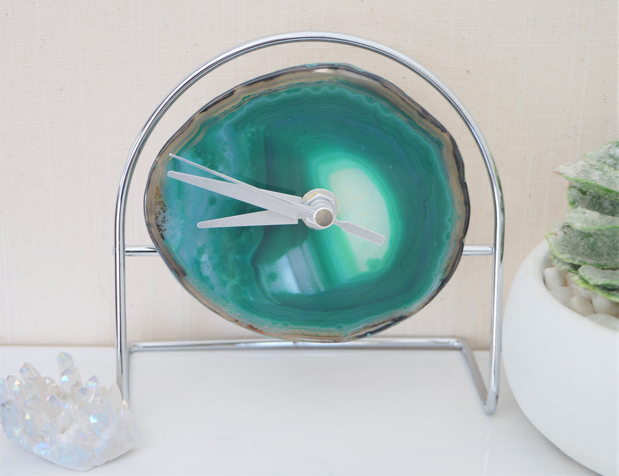 Wholesale Starter set 9 Green Agate Desk Clocks