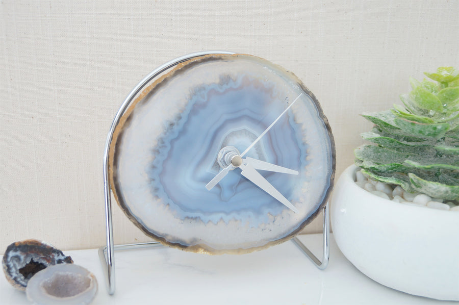 Wholesale Starter set 9 Grey / White Agate Desk Clocks