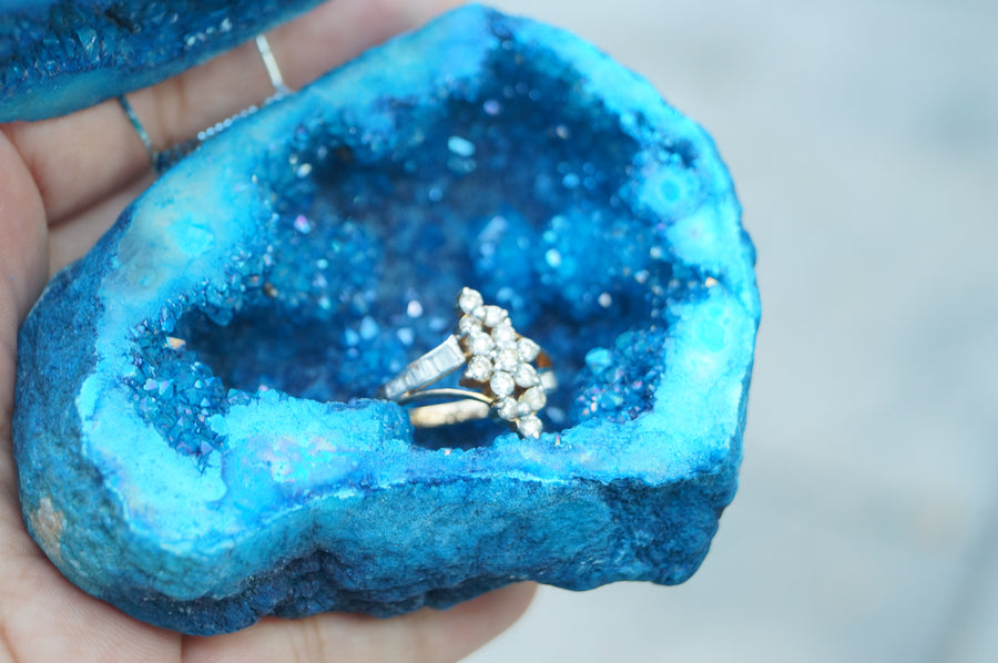 Teal Crystals Geode Agate Box