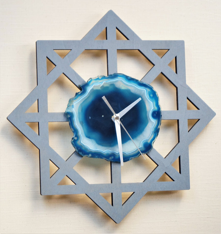 Modern Star Agate Grey Wall Clock