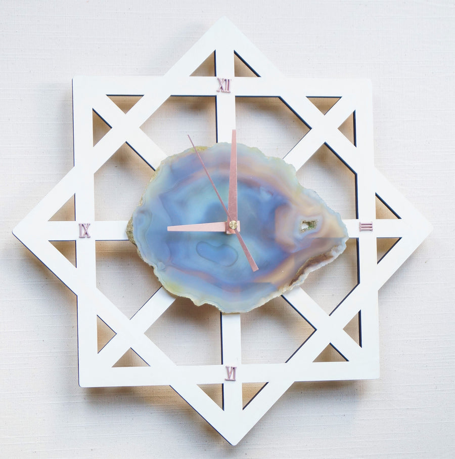 Modern Star Grey Agate White Wall Clock