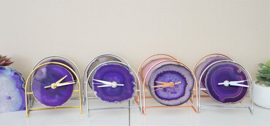 Wholesale Starter set 9 Purple Agate Desk Clocks