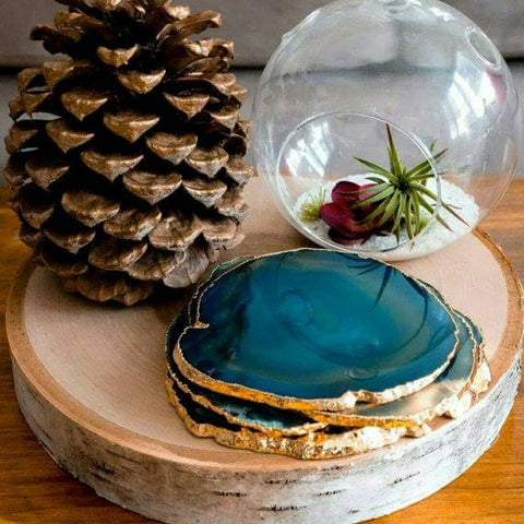 TEAL agate coasters