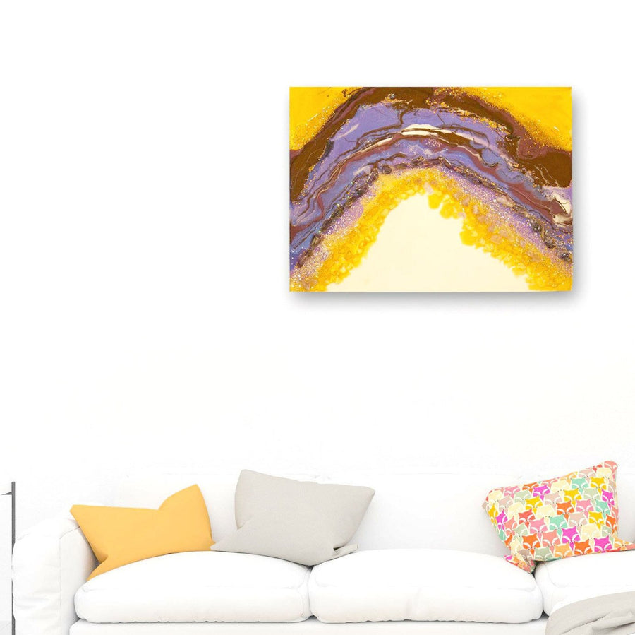 Purple Geode Resin painting - Geode Agate Painting - Amethyst and citrine mix media painting - Amethyst geode