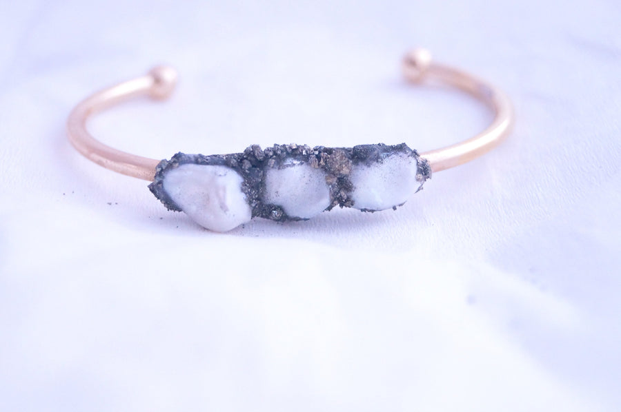Raw Pearl Cuff  Bangle
