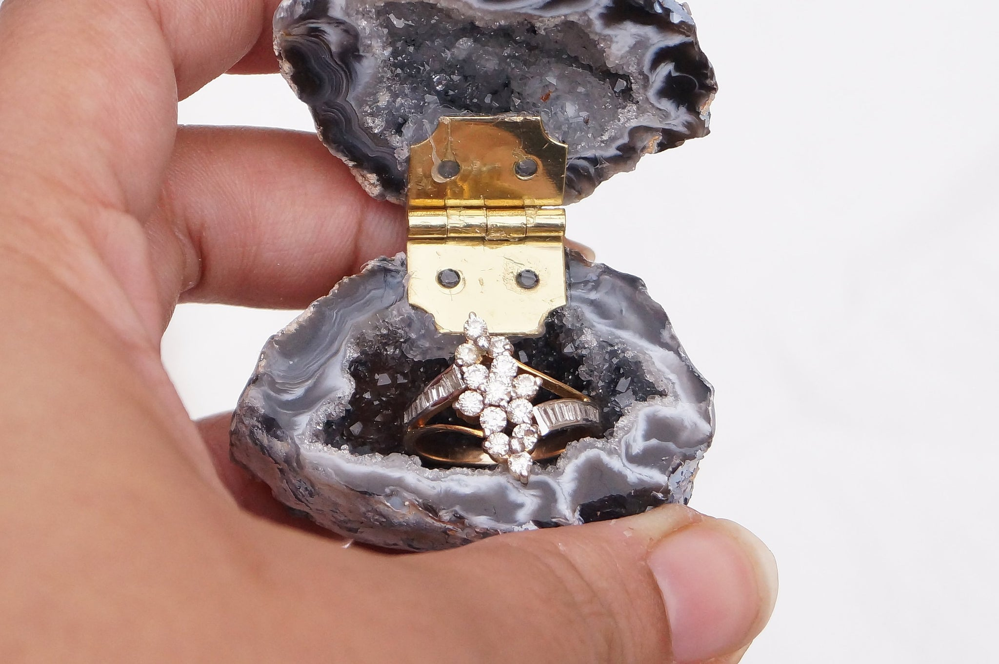 READY TO SHIP Geode Engagement Wedding Ring Box