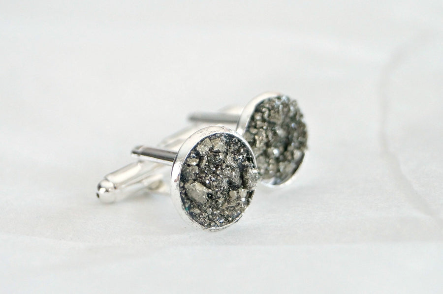 Crushed Gemstone - Druzy Cuff Links - Crushed Pyrite Cufflinks - Gifts for men under 20 - unique gifts for groomsmen - father grandfather