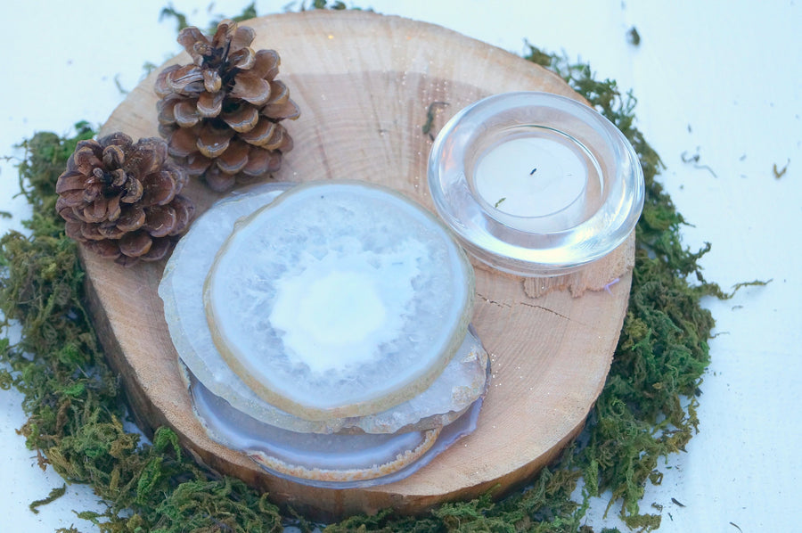 READY TO SHIP White Agate Natural coasters