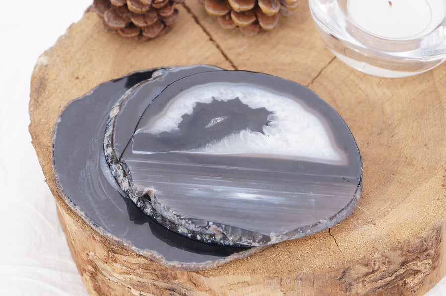 BLACK Agate Natural Coaster set