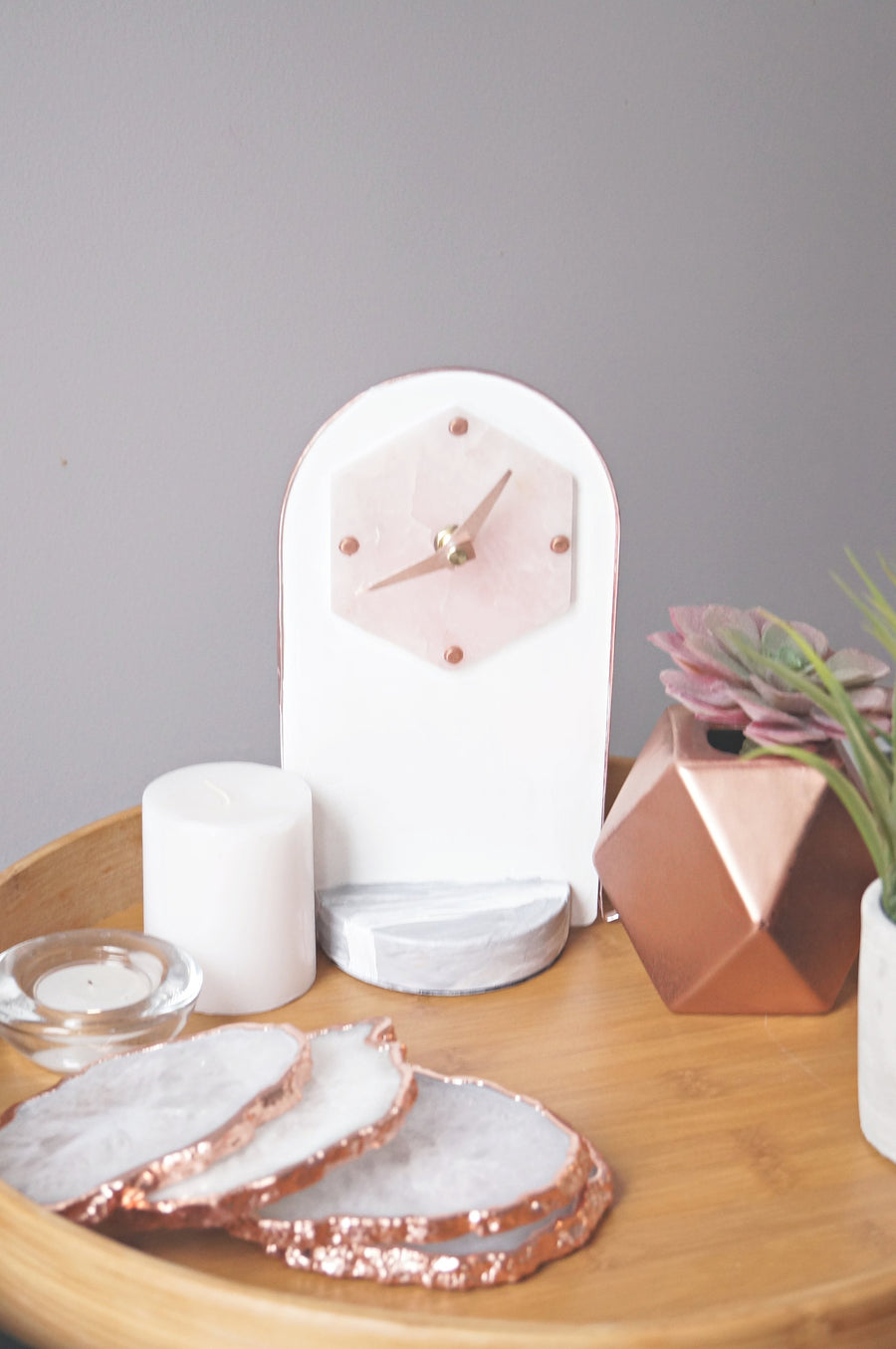 Pink Quartz Clock - Hexagon Modern Clock