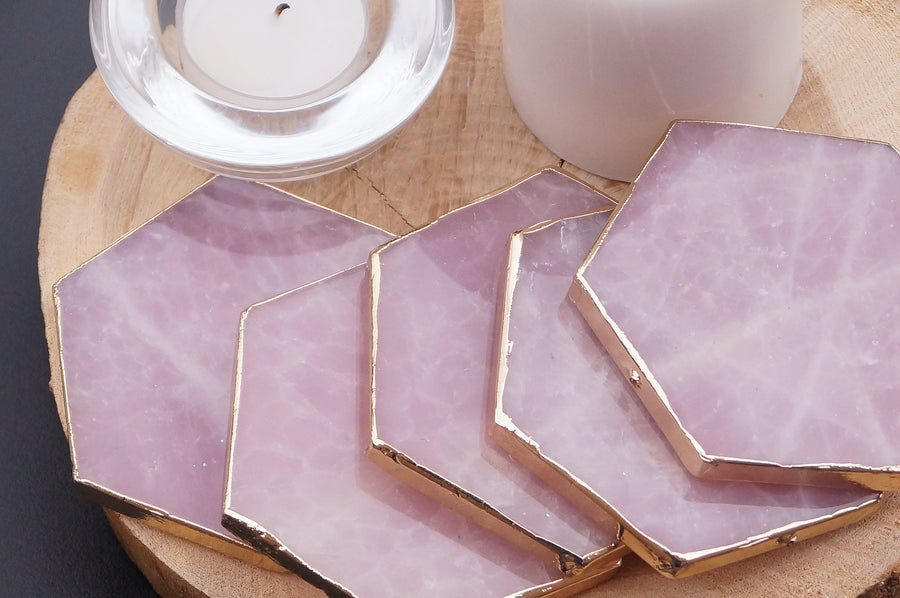 Ready to Ship Rose Quartz Agate Hexagon coasters | light pink Coaster set | Christmas gift sets  |Pink Home decor | housewarming gift