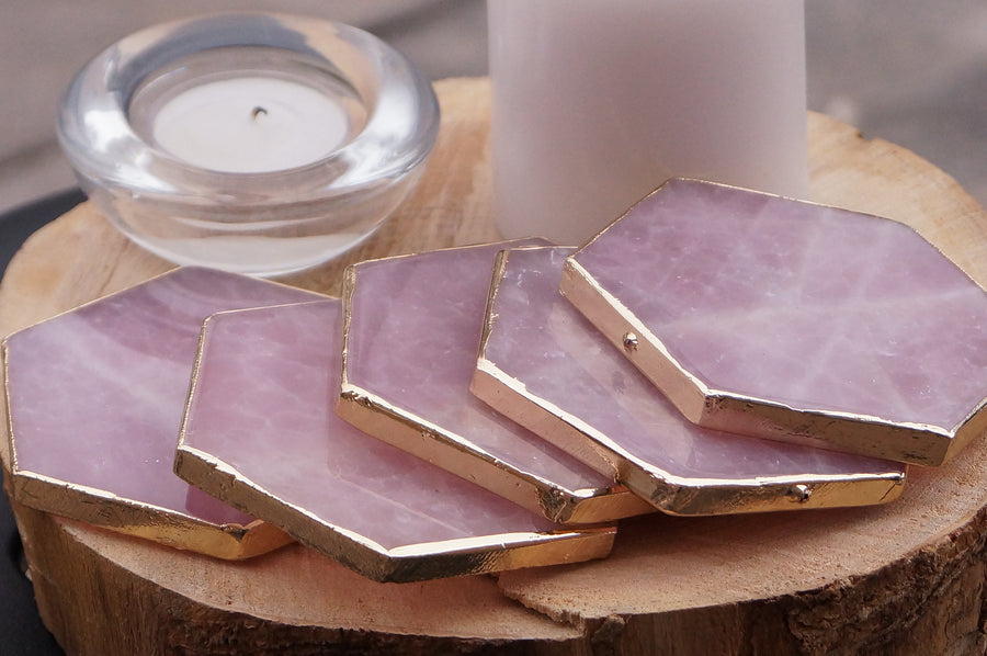 Ready to ship Rose Quartz Agate Hexagon coasters | light pink Coaster set | Extra large Coasters | Home decor | housewarming gift SET OF 4