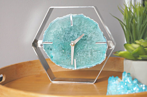 Mint Green Agate Clock - Green Desk Clock
