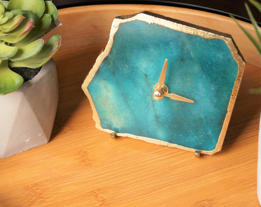 EMERALD GREEN Agate Clock