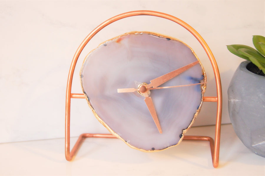 Rose Gold Grey Agate Clock