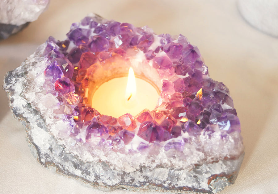 Purple Amethyst  Candle Holder - Home Decor - Boho Style - Agate Candle Holder _ boho home decor - hostess gifts