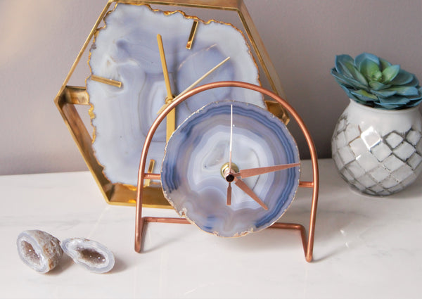 Rose Gold Grey Agate Clock - Grey Desk Clock , Modern Desk Clock , Geode Clock , Desk Clock,Clock , Boho Decor , Gifts for him under 60 gift