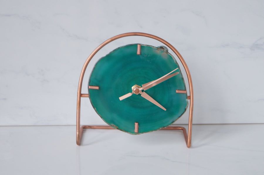 Rose Gold Green Agate Desk Clock