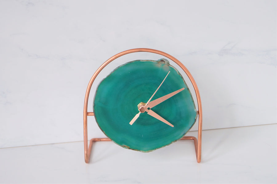 READY TO SHIP Rose Gold Green Agate Clock - Green Desk Clock , Modern Desk Clock , Geode Clock Gifts for her Christmas gifts under 60