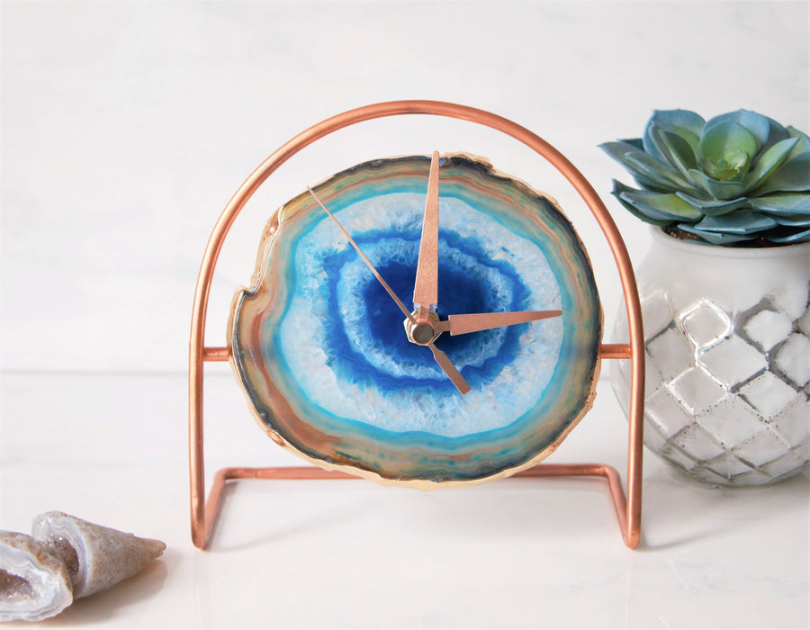 Rose Gold Blue Agate Clock