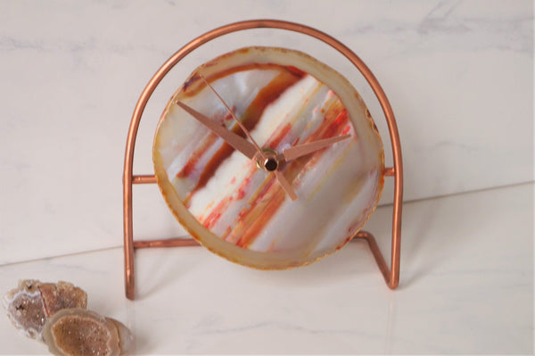 Amber Agate Rose gold Clock - Amber Desk Clock , Modern Desk Clock , Geode Clock , Desk Clock , Boho Decor , Gifts for her  under 60 gifts