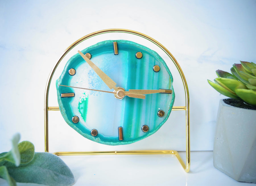 Ready to ship Gold Green Agate Clock - Green Desk Clock , Modern Desk Clock , Geode Clock , Desk Clock , Boho Decor , Gifts for him under 60
