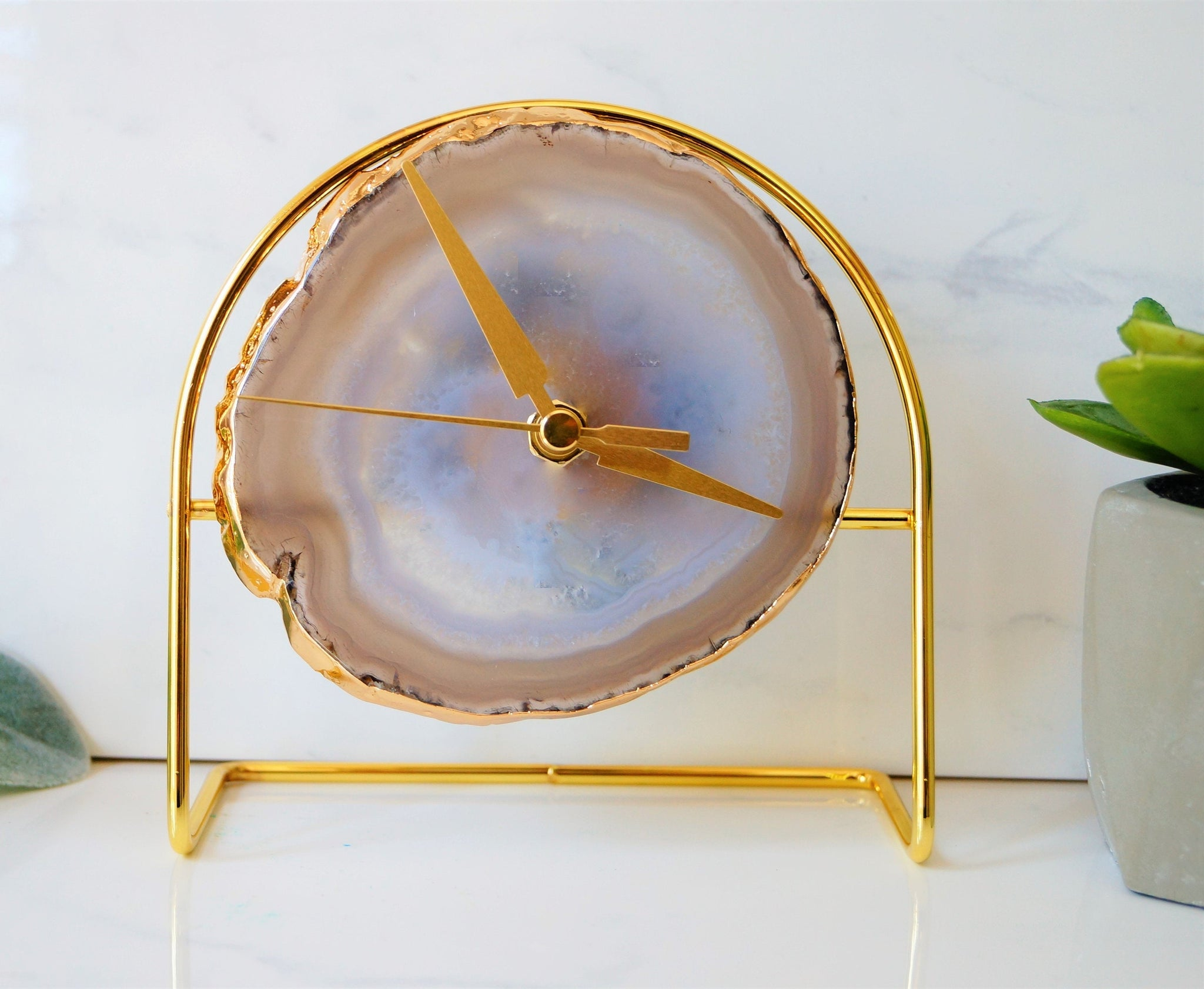 Ready to ship Gold Grey Agate Clock -Grey Desk Clock , Modern Desk Clock , Geode Clock , Desk Clock,Clock ,Boho Decor Gifts for him under 60