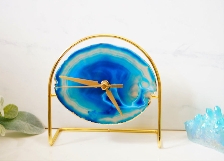 READY TO SHIP Blue Agate Clock