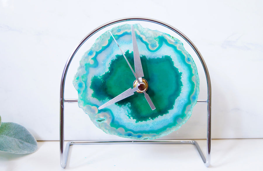 Ready to ship Silver Green Agate Clock