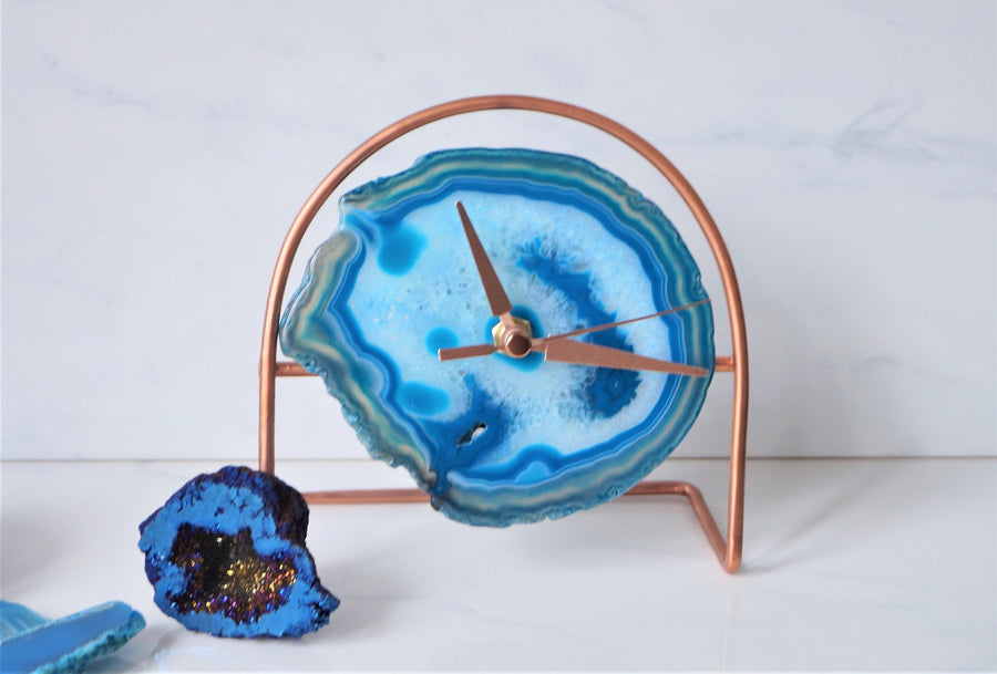 Rose Gold Blue Agate desk Clock
