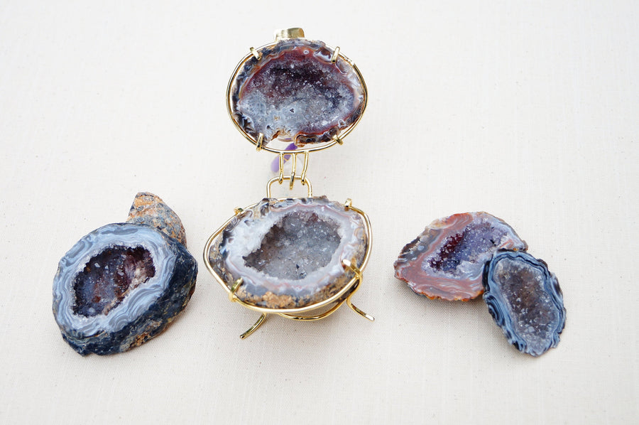 Free standing AA Quality Natural Crystals Geode Agate Box