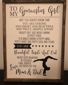 To My Gymnastics Girl