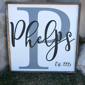 Customizable 2 Tone Monogram Last Name Sign