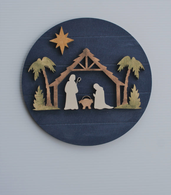 Large DIY Watercolor Nativity Round
