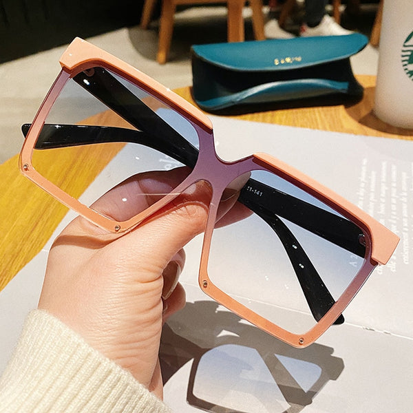 Vintage Double Color Frame Square Gradient Sunglasses