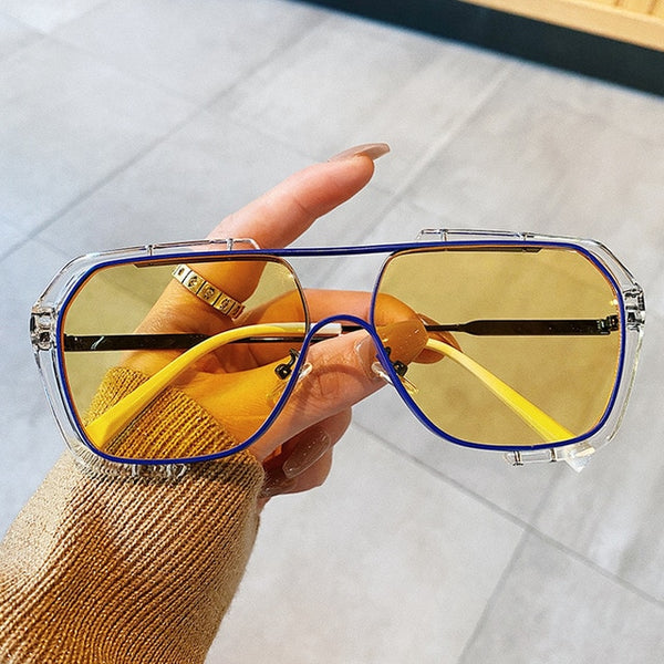 Vintage Alloy Oversized Clear Eyeglasses Female