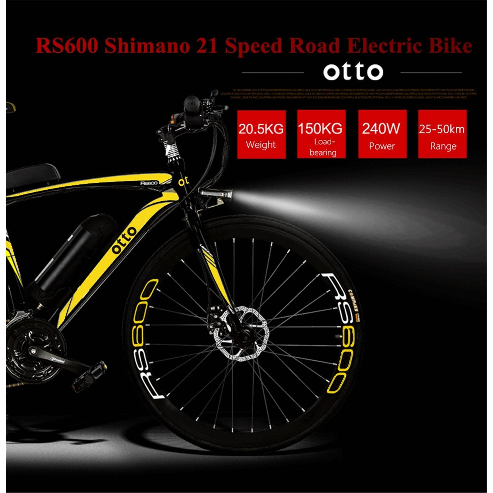 OTTO Electric Bike Ebike RS600 700c Shimano 21 Speed Carbon Steel