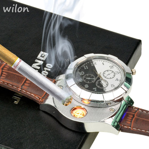 Fashion Rechargeable USB Lighter Electronic Men's Casual Quartz Wristwatch