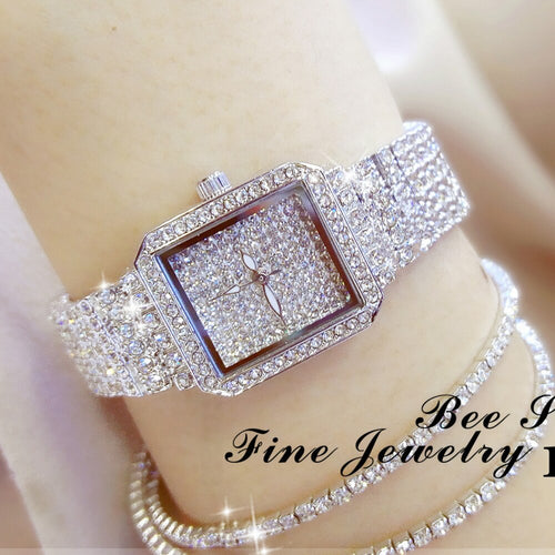 New Ladies Crystal Rhinestone Stainless Steel Watches with Bracelet
