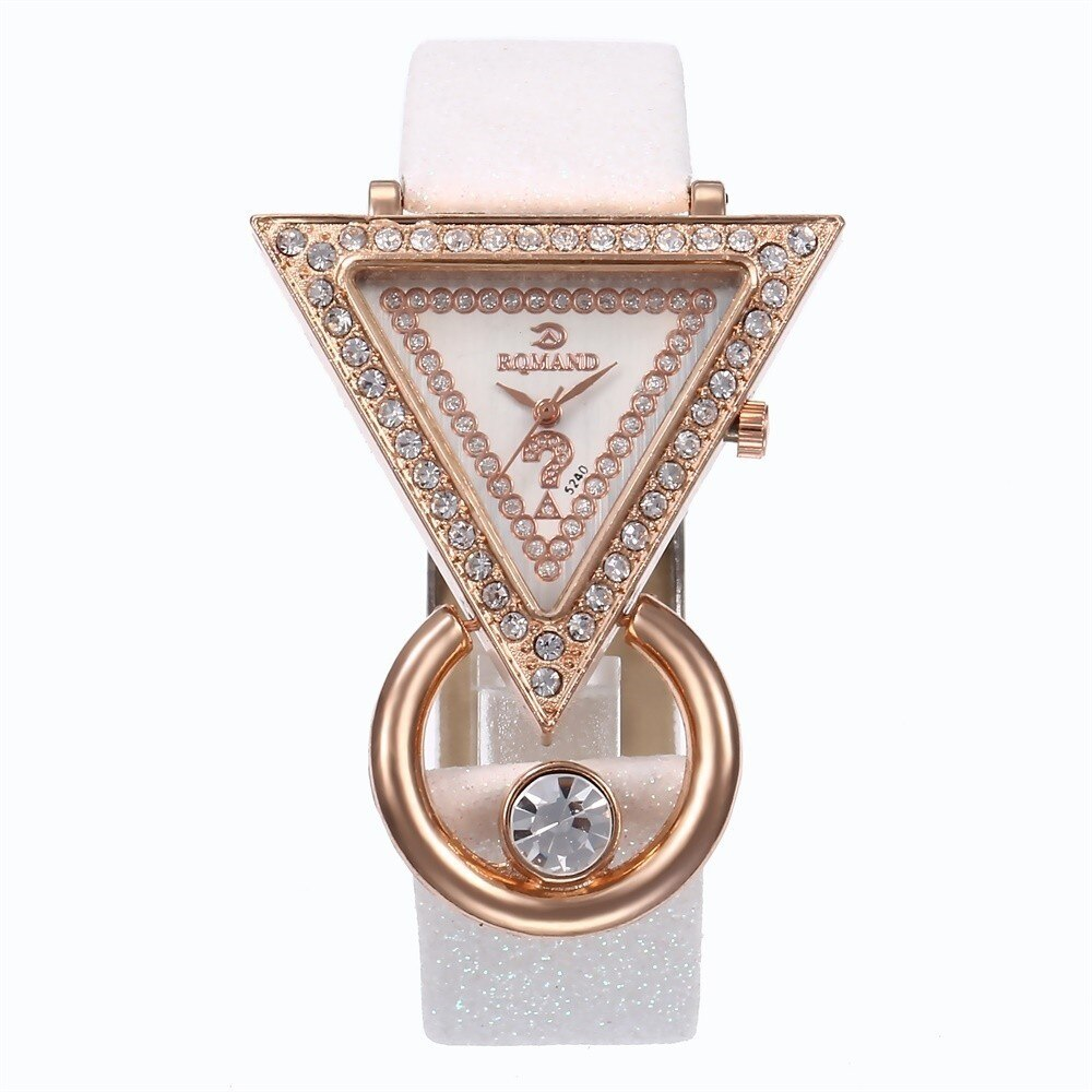 Creative Luxury Triangle Rhinestone Dial Frosted Strap Ladies WristWatch