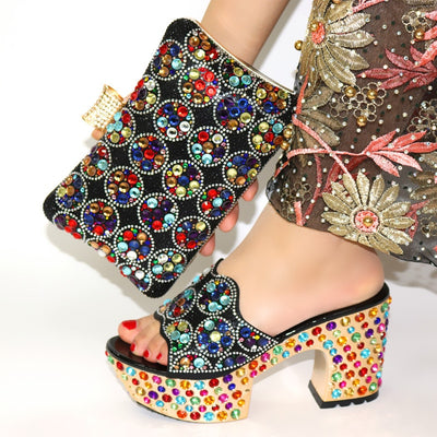 African Women Shoes And Bag Set Italian Newest 2019 Design Italian shoes and bag to match Wedding Gold color