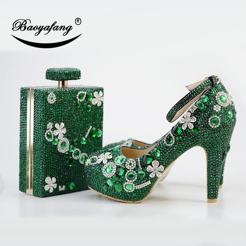 New Luxury Green Crstal shoe woman 11cm Thick heel Ladies Party shoes and bags Ankle strap Buckle Fashion Wedding shoe