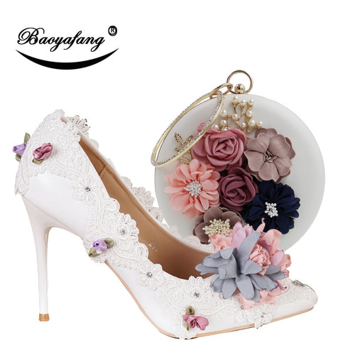 New Pointed Toe Women Wedding shoes with matching bags Bride High shoes Thin heel Ladies Pumps and purse set