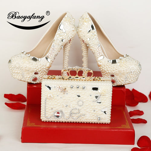 New arrival Luxury Pearl Crystal Wedding shoes Woman High heels platform shoes with matching bags Ladies party shoe